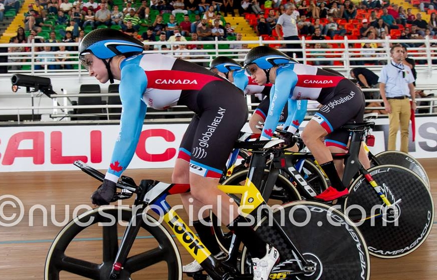 Kinley Gibson launches for the team pursuit qualifier.