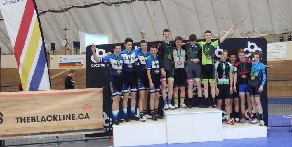 Chris and Mat join with Jackson and John from Calgary for Team Alberta silver in U17 Team Pursuit!