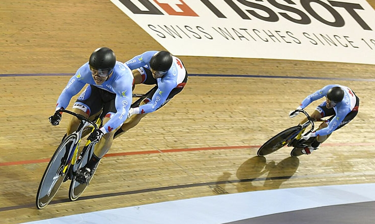 Stefan competes in the Team Sprint