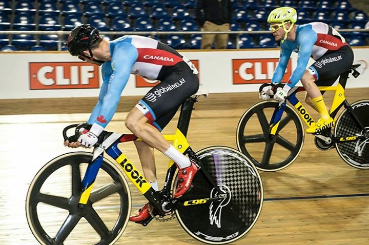 Tristan and Ross battling it out, Day 3,  in the scratch race. Result - 2 top ten finishes!