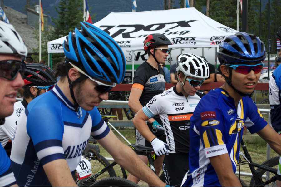 Team Alberta's Sean Germaine and Juventus' Cody Shimizu lined up with the Elite Men's U23 field, race faces set and dialed in.