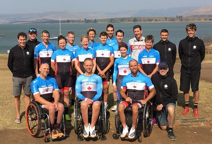 Ross with the 2017 Canadian Para Road World Championship Team (4th athlete from the left)