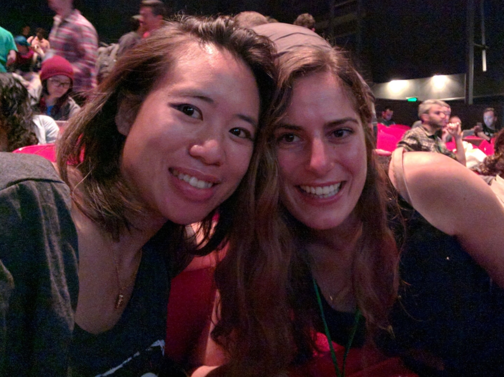 "Me and the amazing  Christina Lee , who gave a stellar talk on ""Borrowing the Best of the Web to Make Native Better"""