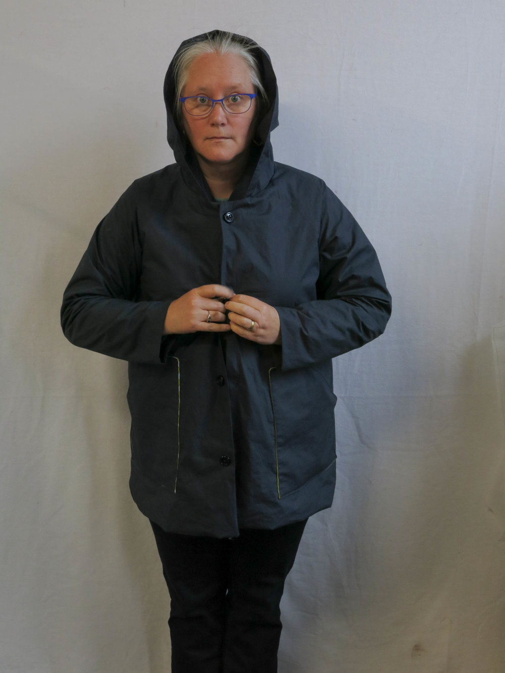 A Navy Waver jacket in waterproof poplin.  The Closet Case Patterns Kelly Anorak was released AFTER I had already cut this out. Otherwise I would have made one of those.