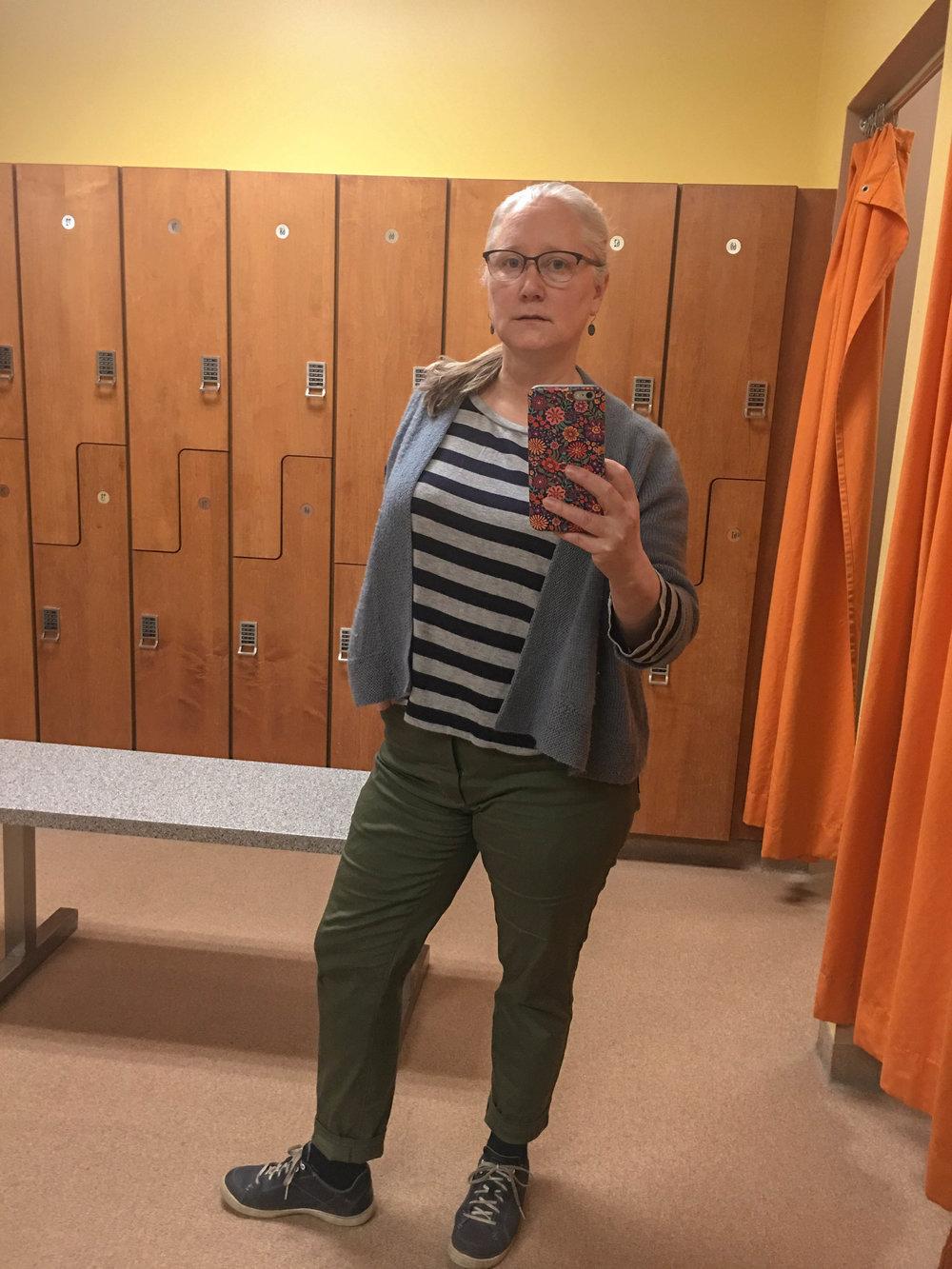 Army green stretch twill Gingers. A hemlock. My Liv light cardi.