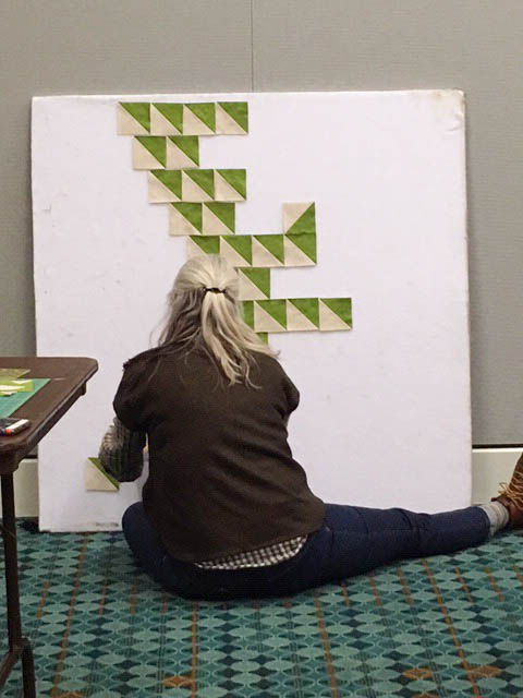Me at Quiltcon with the start of a quilt… Thanks to Hester Campbell for the photo!