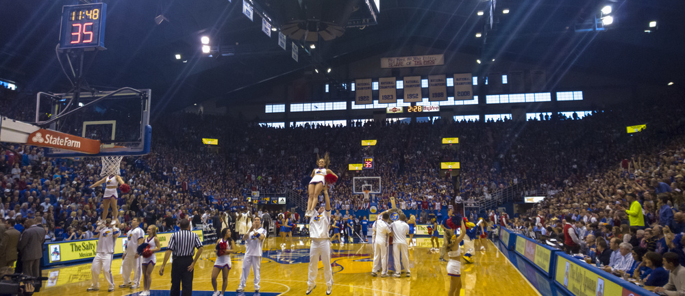 The KU Spirit Squad performs during a time out.