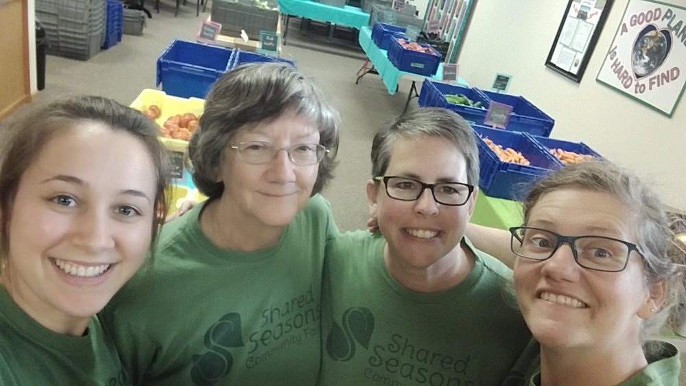 Shared Seasons Pride!    Left: Micaela & Carolyn = CSA pick up day lifesavers and total rock stars!     Right: Mel = newsletter recipe guru and S.S. test kitchen chef & Sara = person least likely to work on Thursday!