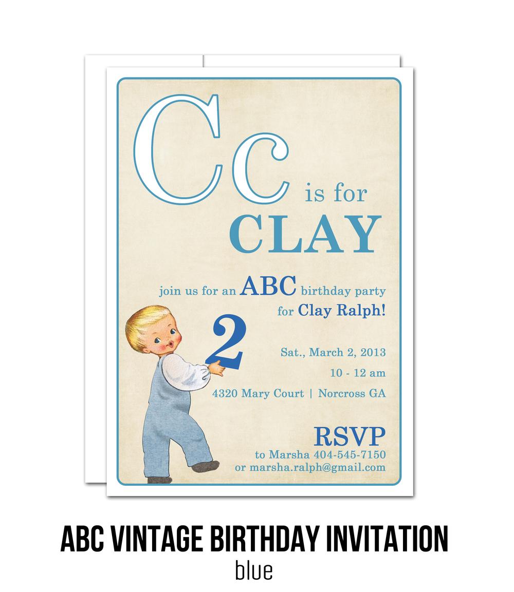 Abc Vintage Birthday Invitation P Ink Creative