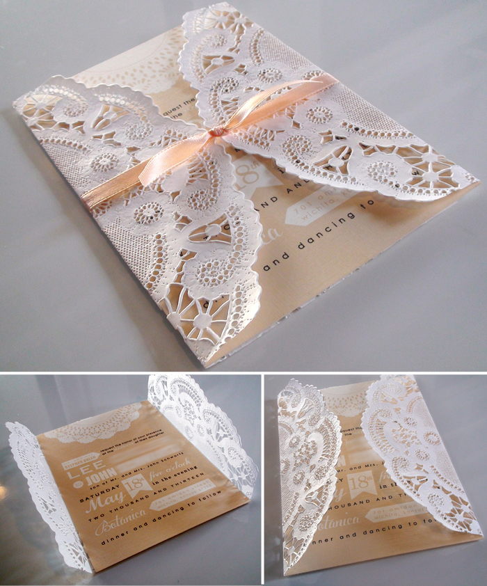 wedding wednesday doily invitations pink creative With wedding invitations using paper doilies