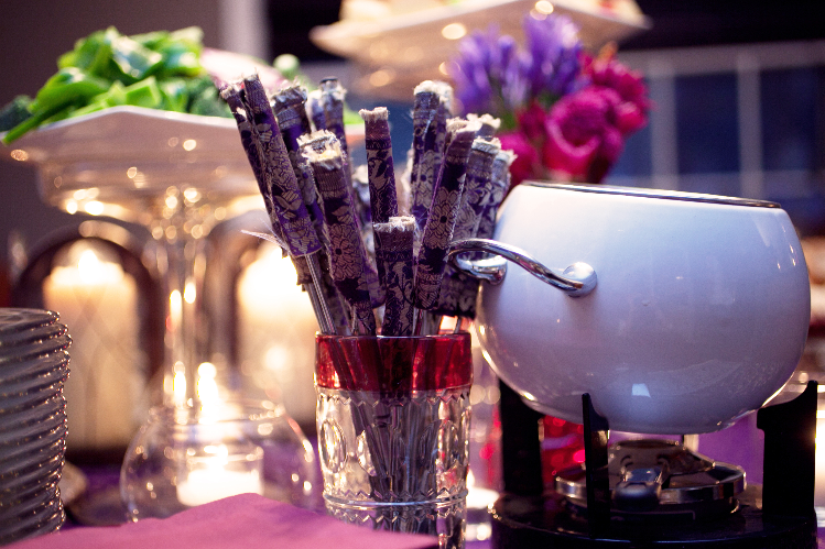 Fabric-wrapped Fondue Forks - Easy DIY that added a lot to the look of the table!  Photo by Mollie Wetta Photography