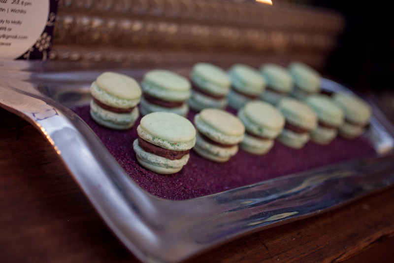 mint chocolate chip macarons made by  Sugar Sisters Bakery