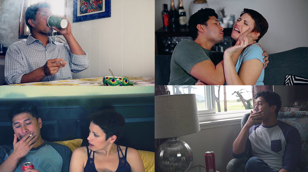 (Clockwise from top left): Blake smoking in the kitchen, Blake & Chel during a hot makeout sesh in the living room, Blake in the same living room with a different setup, Blake & Chel in the bedroom.