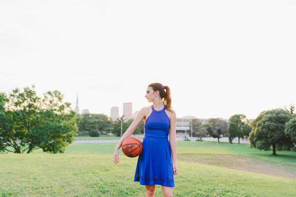 Girls' Senior Portraits on the basketball court