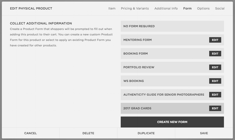"Click ""create new form"" at the bottom to make your form that clients fill out when purchasing."