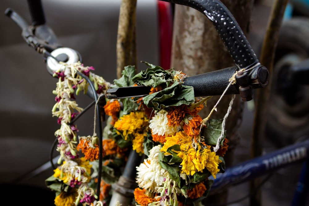 bicycle with garlands