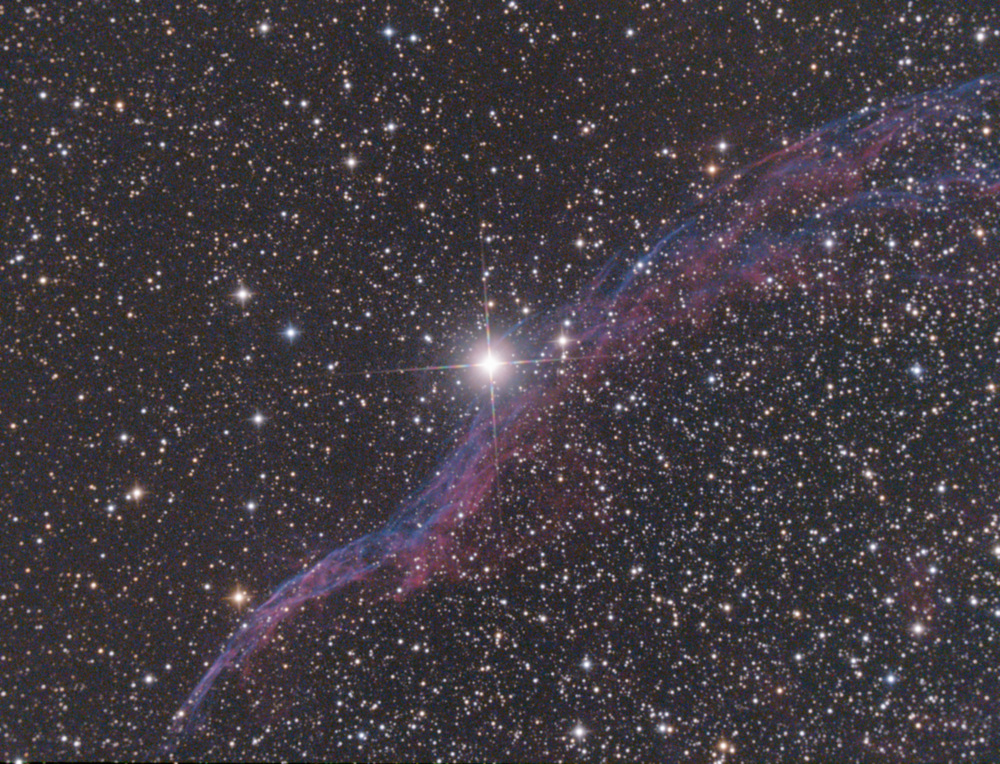 "This is a supernova remnant called the Veil Nebula. It's one of my favorite summer objects to image. Exposure 3hours with 6"" Ritchey Chrétien f/5.6"
