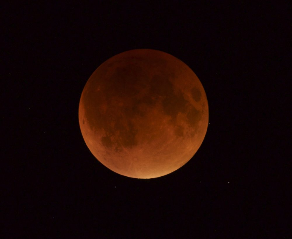 2015 Lunar Eclipse -  This is the Super Moon/Total Eclipse of 2015. The image was taken at Rocky Road Observatory with an ED80mm Scope and a Canon 700D. The Eclipse was at Totality at approximately 10:47pm. This was a 2.5sec exposure at 10:50pm. There was no apocalypse last night but a friend in Honduras stated that there was a 4.5 level earthquake...