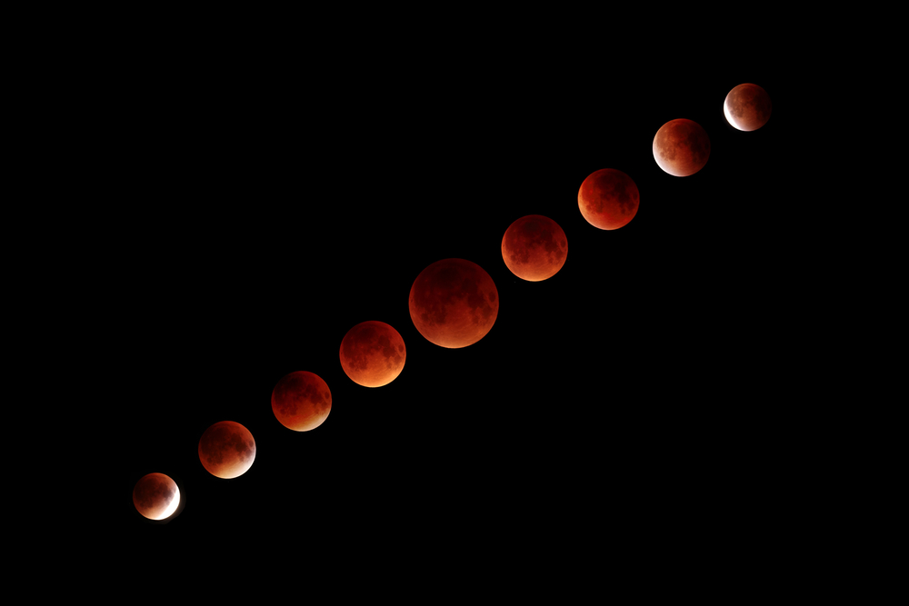 This is a collage of the 2015 Lunar Eclipse from start to finish. The center image is the eclipse in full totality.