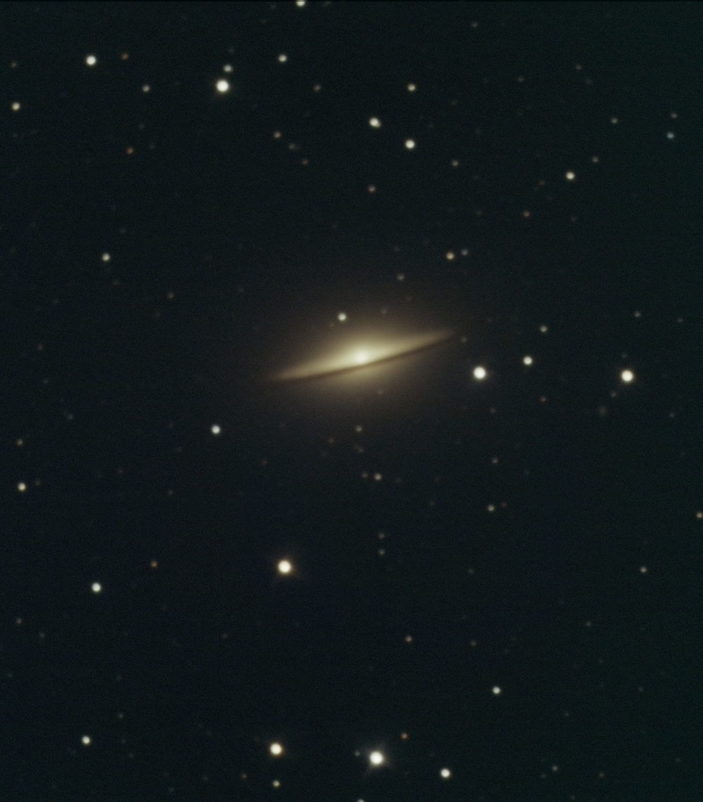 This galaxy is pretty small (30million light yrs away) for a backyard astrophotographer but it's a fun target. If you want to see a mind blowing image of this one, google: hubble IR sombrero. My image is under 2hours of exposure. L=40min R=22 G=22 B=22.