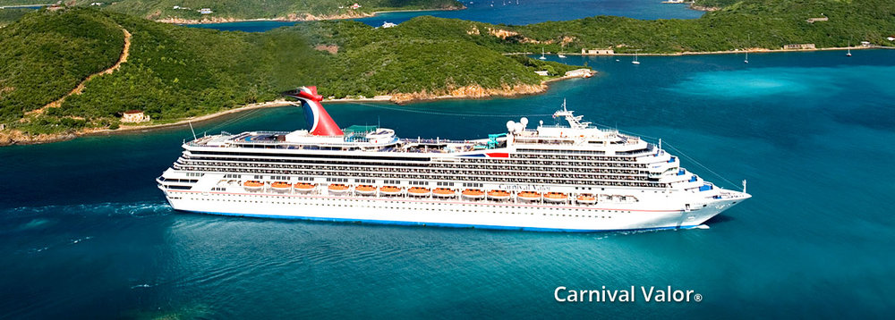 There's no need to go looking for fun aboard CARNIVAL VALOR, fun will find you. In fact, with CARNIVAL VALOR's three pool areas, 9-hole mini golf course, Carnival Seaside Theatre and the best fine dining afloat at her steakhouse, it's almost impossible to not have the time of your life aboard CARNIVAL VALOR. And, with so many entertainment options, the good times are just getting started when the sun goes down. Come sail and see for yourself. Book your Caribbean cruise aboard CARNIVAL VALOR today. Ship's Registry: Panama.  Class: CARNIVAL VALOR Length: 855 ft (261 m) Total Staff: 1180 Guest Capacity: 2974 Cruising Speed: 21
