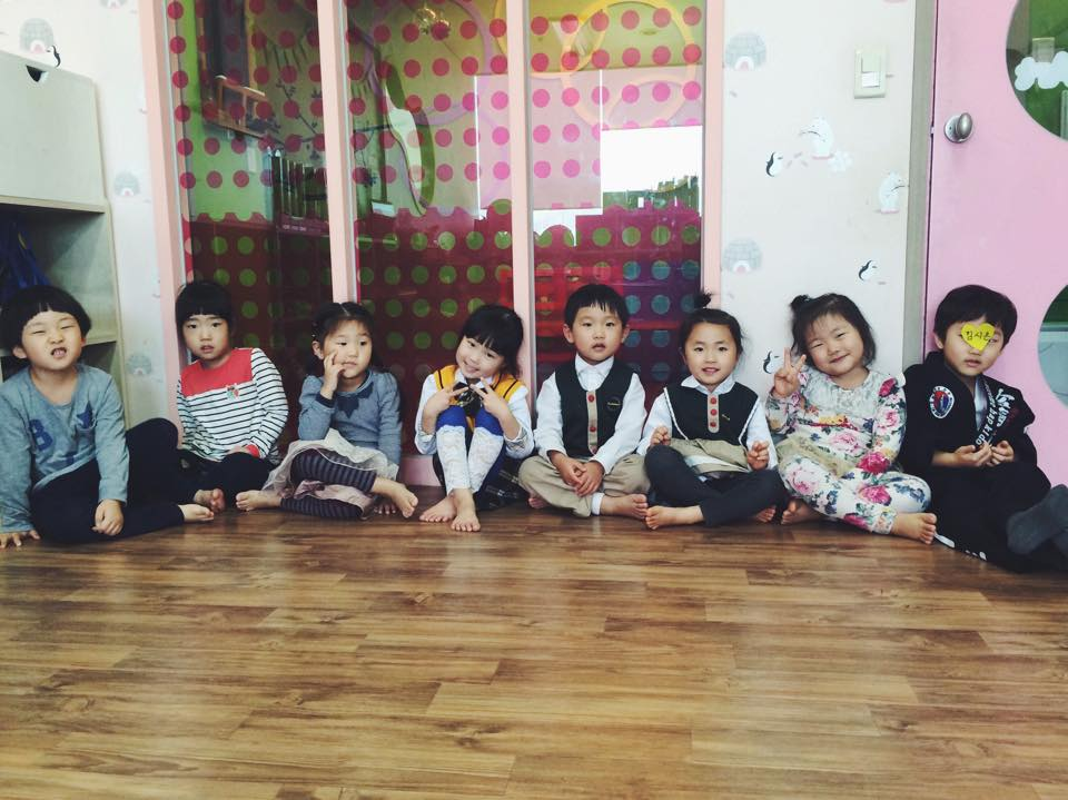 The Kindergarten I teach at on Fridays. These little ones are Korean age 6, meaning they are four year olds!
