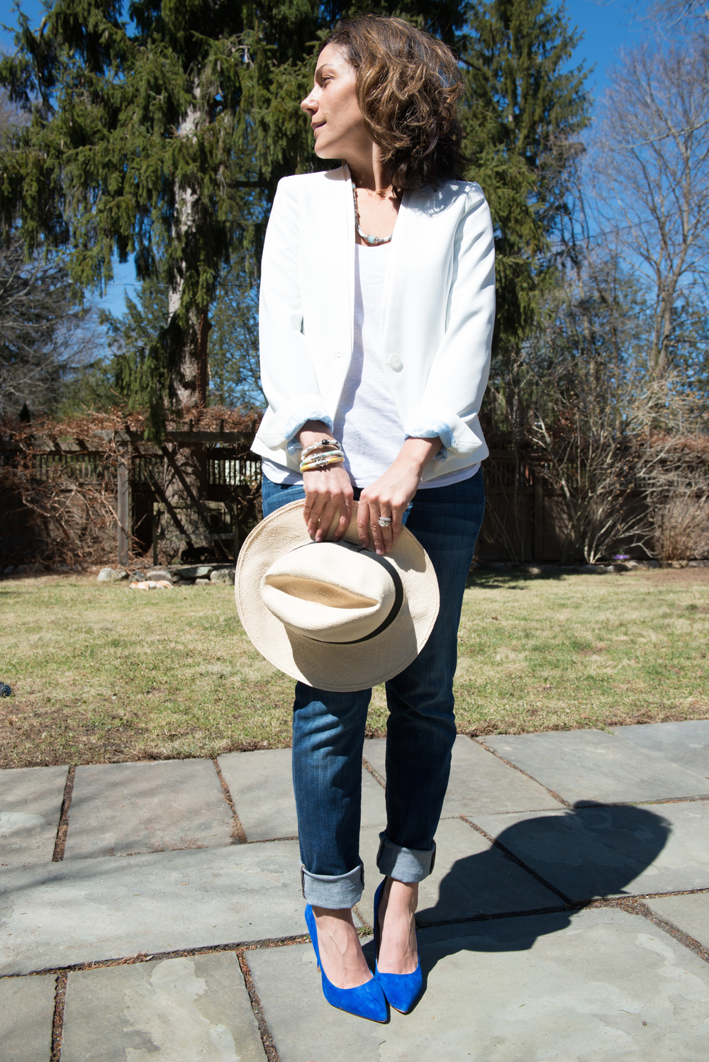 Such a simple look, but with so much power behind it with a pop of color. Razimus VIVE Neck to Wrist (part of giveaway) + Razimus Fabric Bangles (here) Zara white blazer (here), StyleMint white tank (here), Joe's Boyfriend Jeans (similar here), J.Crew Panama Hat (similar here), Shoemint Blue Suede shoes (similar here). Photography by Will Mann Photography.