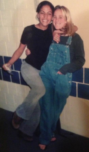 #TBT. My bff Tiffany and I looking amazing. Those cords I am wearing were my dad's from the 70's/80's and the overalls Tiff is wearing are sweet and stylish!