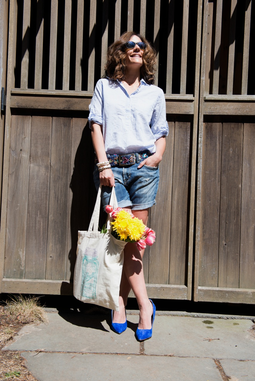 "Images by the talented William Mann Photography My Outfit: Embroidered Flower Belt at $36.00 (here)   /   Bryce's Old Citizens Jeans made into ""Jorts"" (similar from Asos here)  /  J. Crew Striped Button Down (old, similar from Ann Taylor here)  /  Etsy Mason Jar Canvas Bag (here)  /  Zoe Emilie (similar here)  / Blue Suede Shoes (StyleMint, old, similar here)"