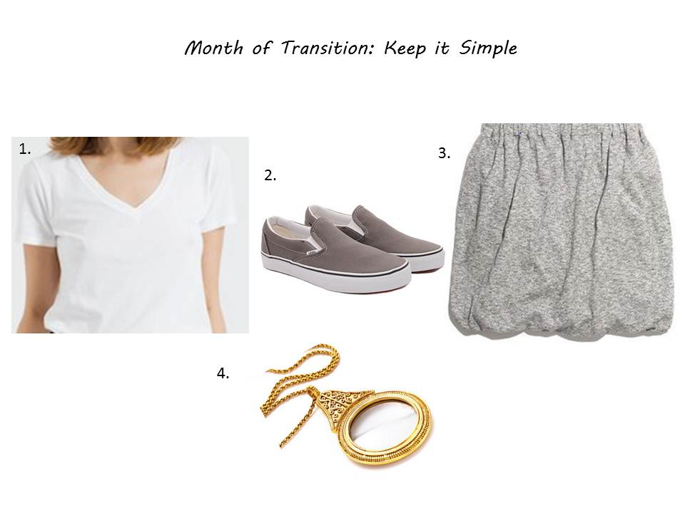 1. Everlane Tee ( here ) / 2. Vans Slip-Ons ( here ) / 3. Madewell Twisted Skirt (on sale  here ) / 4. Julie Vos Pendant (similar  here )