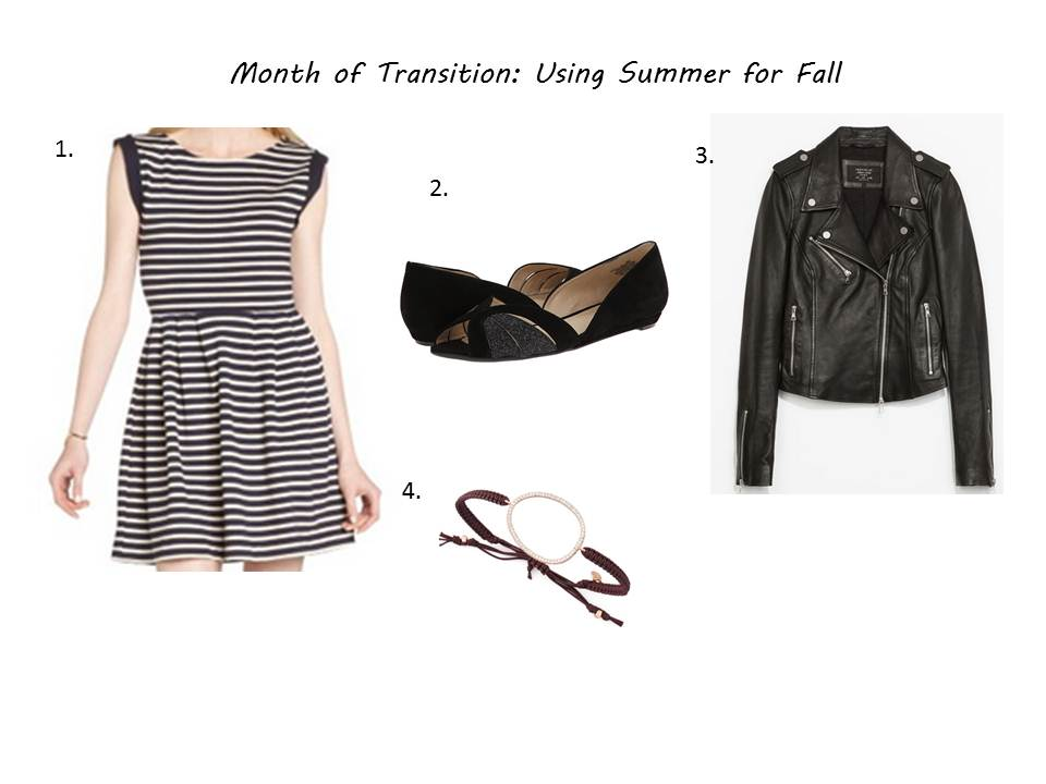 1. French Connection Dress ( here)  / 2. Nine West Shoes ( here ) / 3. Zara Leather Jacket ( here)  / 4.Tai Cord bracelet ( here )