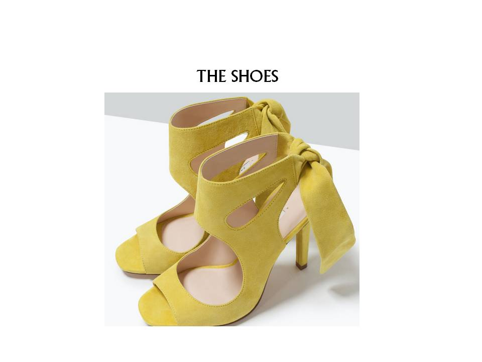 "These are the shoes I bought from ZARA (here) to ""cheer"" me up! The perfect shade of yellow and just the right amount of color to make any outfit pop! Stay tuned - I am shooting these with Will today!"