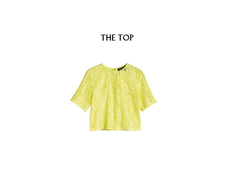 "The crop top is still a fresh look when paired with something very reserved and classic. In my opinion it always creates a ""second glance"" scenario - it's unexpected! This one from H&M (HERE) will not break the bank at $34.95."