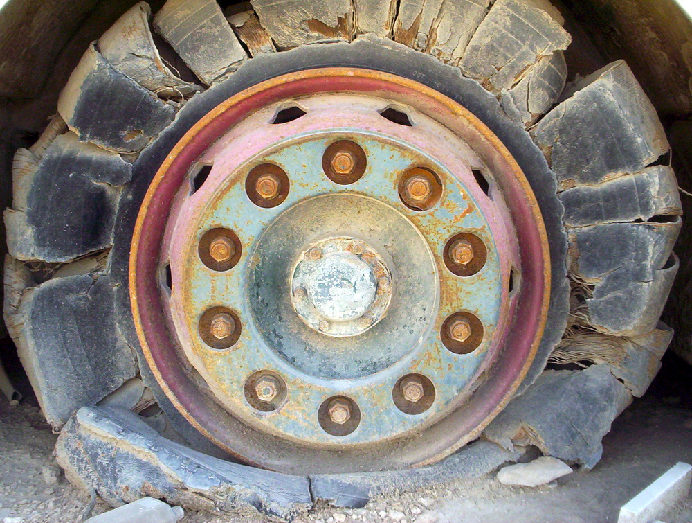 Doha, Qatar - old school bus tire