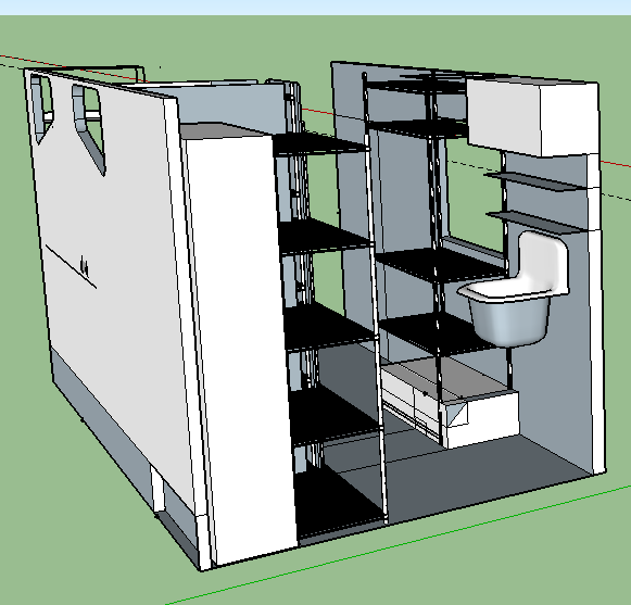 sink right by the back opening, with water container above it for a gravity-fed system. lots of shelves, and a space (represented by the big white box) for scaffolding, ladders, panels, etc.