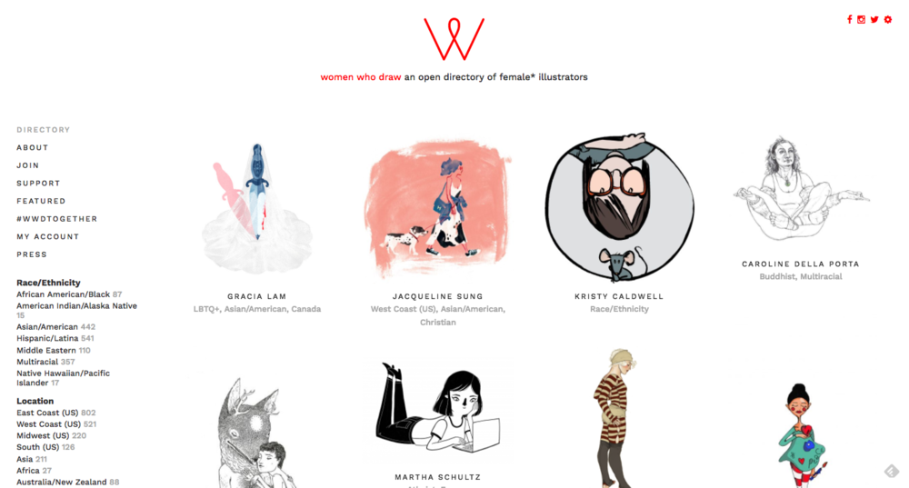 Women who draw - A directory of womxn illustrators, and a glorious example of myriad ways to represent female people.and an article about why this is important and exciting: http://www.bbc.com/news/world-us-canada-38524131