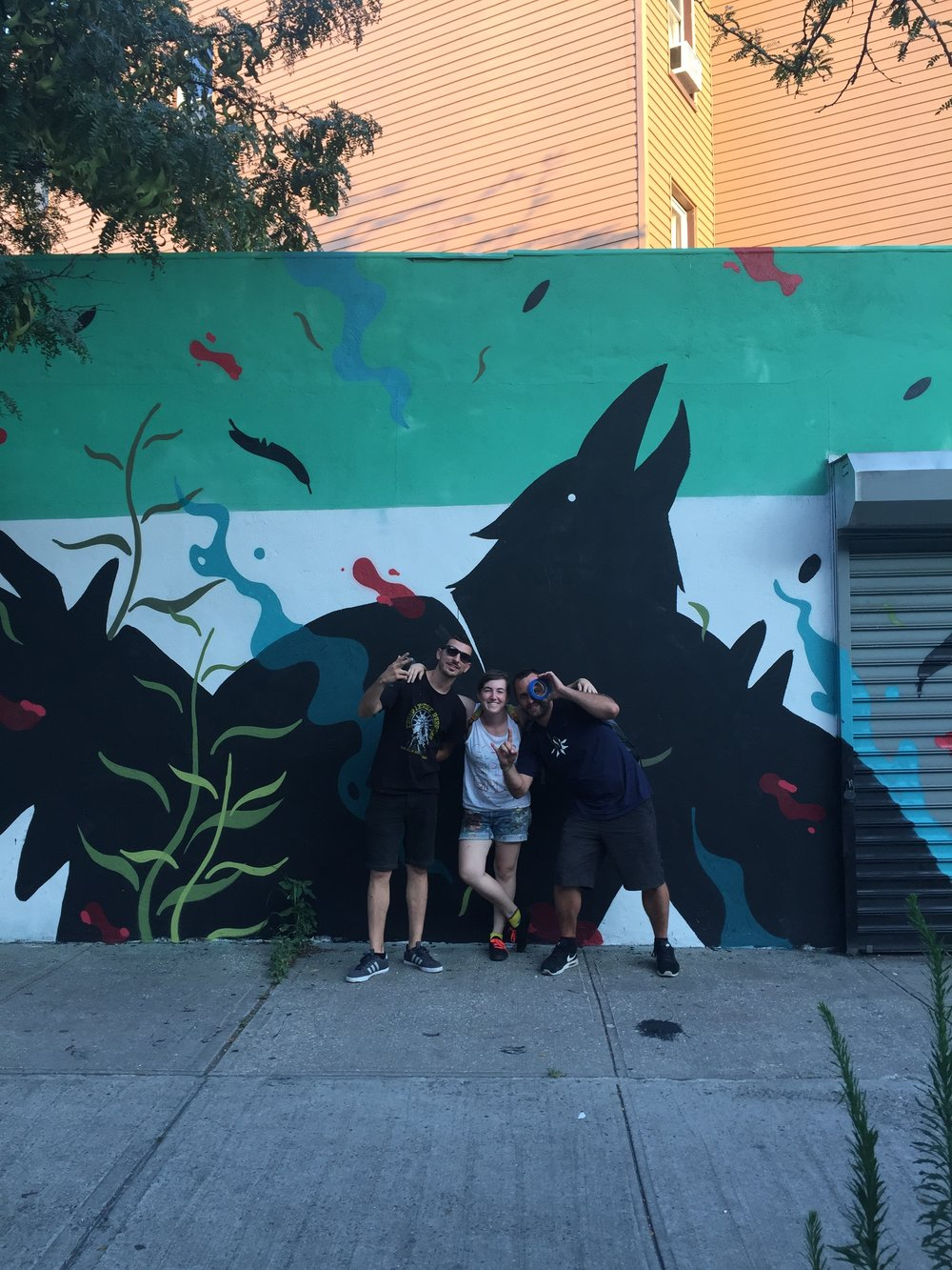 I met them very briefly in Richmond a week before, and they are wrapping up their last mural in the US before returning to Spain. Road Trip Magic!!!