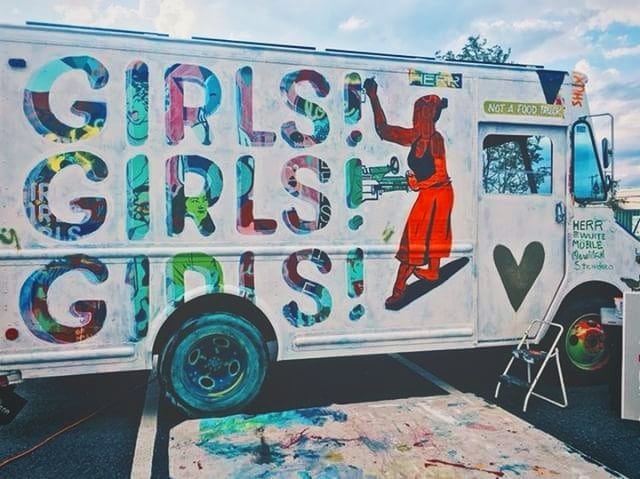 Finally got to finish up this iteration of the truck, feat. @sallieplumleystudio, who I have been trying to find the right spot to paint for ages! Do  you see the faces peeking through? I kept as many as I could 💟 . Thanks @vasenbrewing for the excuse to hang out outside all day! . . . . #girlsgirlsgirlstour #girlsgirlsgirls #woodworker #drillpress #ladieswhopaint #vanlife