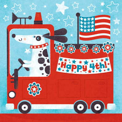 Title: Happy 4th! Fire Dog Illustrator: Steve Mack All inquiries for images can be sent to: Steve Mack Illustrator steve@stevemack.com Lori Nowicki Painted Words Licensing Agentlori@painted-words.com