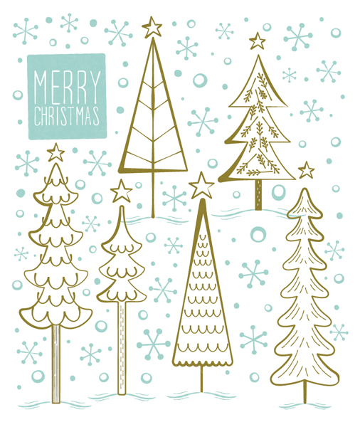 Title: Christmas Trees Blue Gold Illustrator: Steve Mack All inquiries for images can be sent to: Steve Mack Illustrator steve@stevemack.com Lori Nowicki Painted Words Licensing Agentlori@painted-words.com