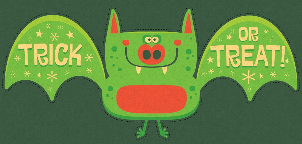 Title: Halloween Green Folding Bat Illustrator: Steve Mack All inquiries for images can be sent to: Steve Mack  Illustrator steve@stevemack.com Lori Nowicki Painted Words Licensing Agent lori@painted-words.com