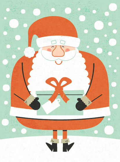 Title: Santa With Gift Illustrator: Steve Mack All inquiries for images can be sent to: Steve Mack  Illustrator steve@stevemack.com Lori Nowicki Painted Words Licensing Agent lori@painted-words.com