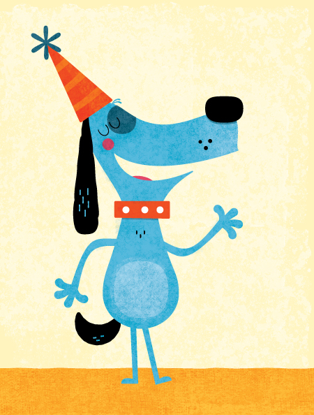 Title: Blue Birthday Dog Illustrator: Steve Mack  All inquiries for images can be sent to:  Steve Mack  Illustrator  steve@stevemack.com   Lori Nowicki  Painted Words Licensing Agent   lori@painted-words.com