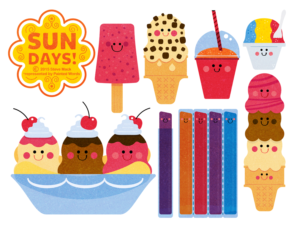 Title: Sun Days Ice Cream Collection Part 2 By Steve Mack Illustrator: Steve Mack  All inquiries for images can be sent to:  Steve Mack Illustrator  steve@stevemack.com   Lori Nowicki  Painted Words Licensing Agent   lori@painted-words.com