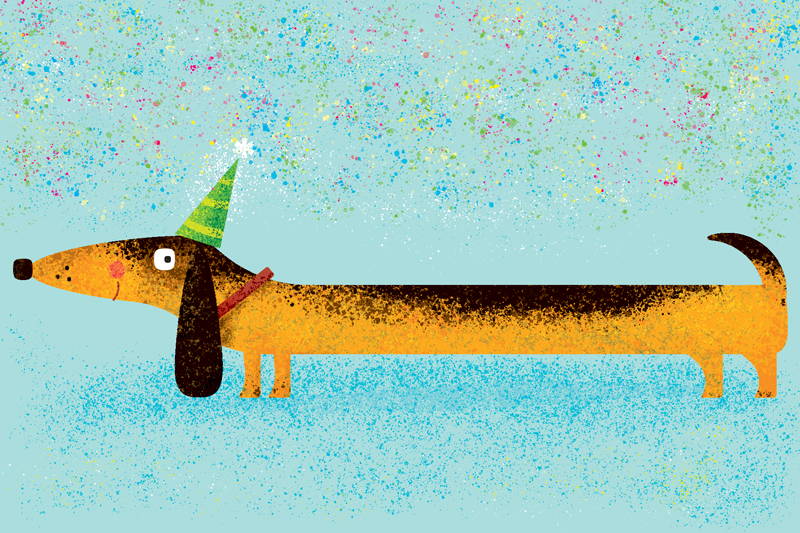 Title: Wiener Dog Birthday By Steve Mack Illustrator: Steve Mack All inquiries for images can be sent to: Steve Mack Illustrator steve@stevemack.com Lori Nowicki Painted Words Licensing Agent lori@painted-words.com