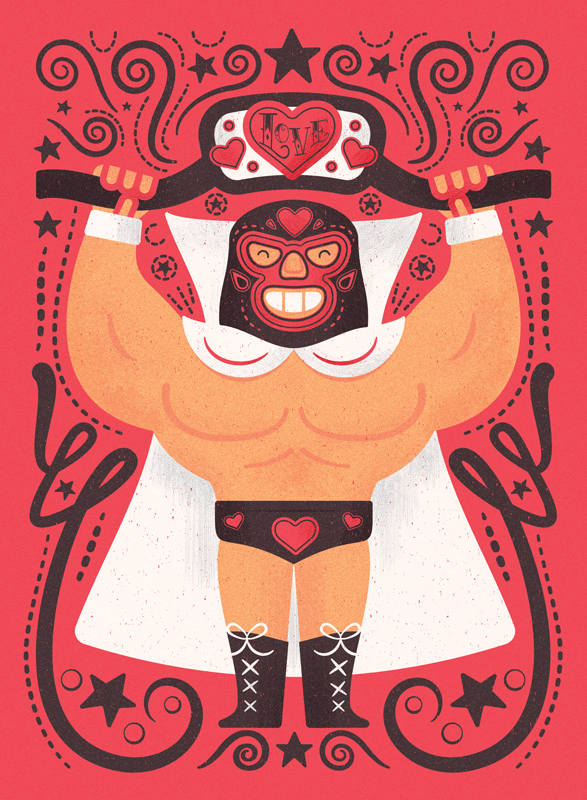 Title: Lucha Love  Client: American Greetings  Illustrator: Steve Mack  All inquiries for images can be sent to:  Steve Mack Illustrator  steve@stevemack.com   Lori Nowicki  Painted Words Licensing Agent   lori@painted-words.com