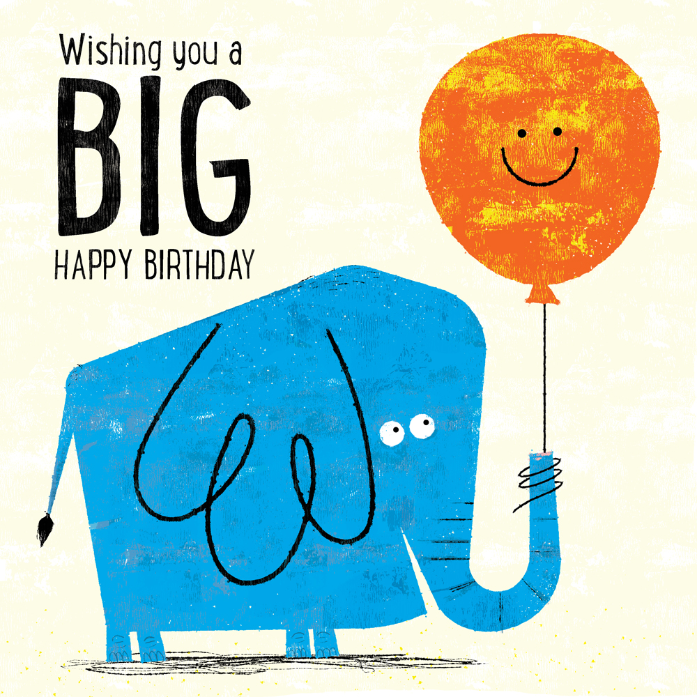Title: Happy Birthday Blue Elephant  Client: Availbe For Purchase or Licensing Illustrator: Steve Mack All inquiries for images can be sent to: Steve Mack Illustrator steve@stevemack.com