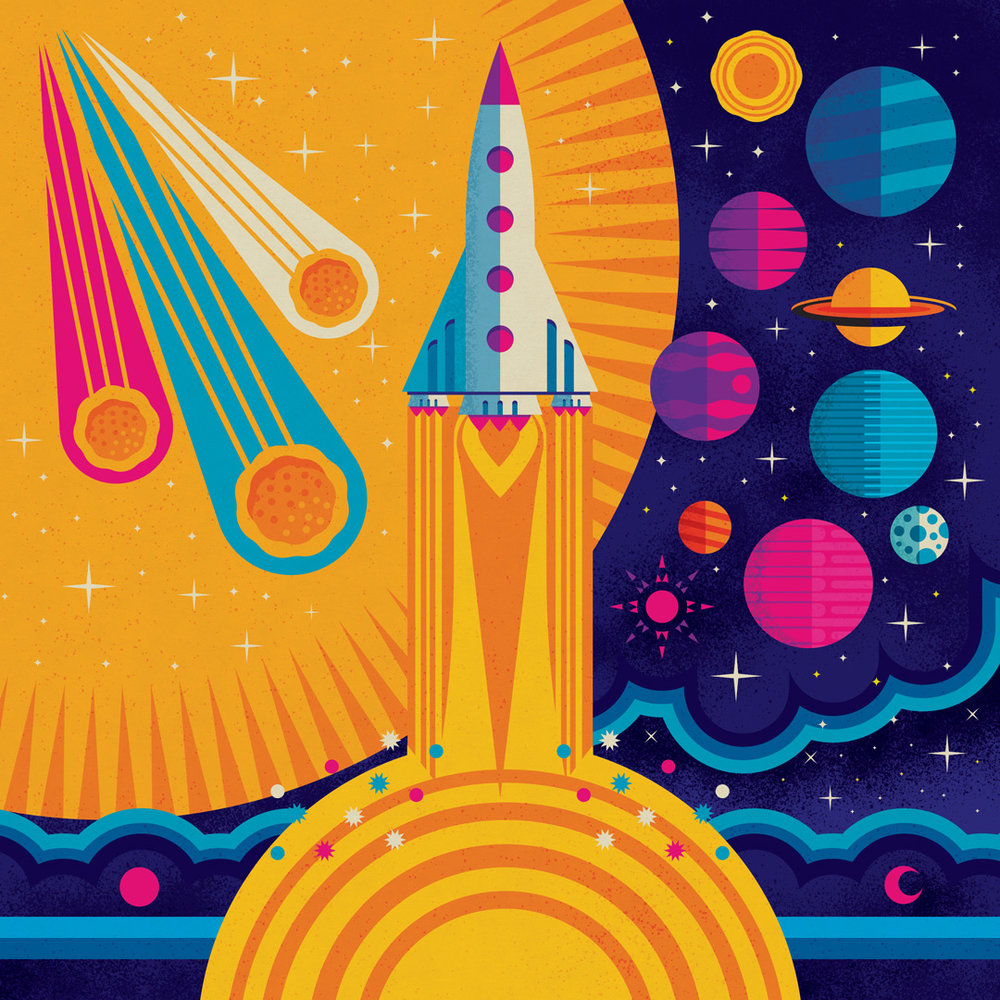 Space Exploration   80s retro vibes in this space themed series by Steve Mack. Radical!   Purchase Link:    https://society6.com/product/space-exploration1176065_print?sku=s6-8858054p4a1v45