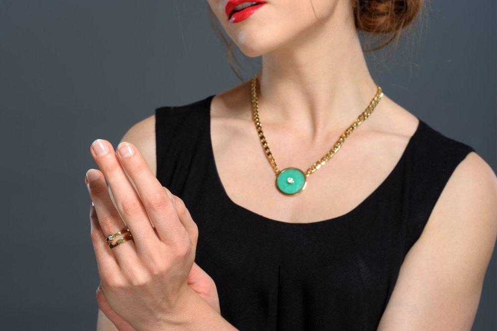 Chrysoprase reflects nature's brilliant shade of green and encourages hope and joy. Awakening the creative spirit and bringing harmony, Chrysoprase strengthens the workings of insight and the higher consciousness.