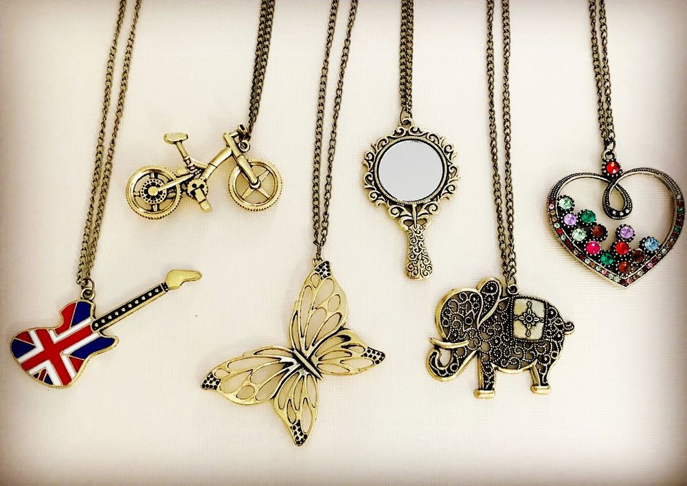 "Vintage Style, 27"" Long Pendant Necklaces - Guitar, Bicycle, Butterfly, Mirror, Elephant, Heart"